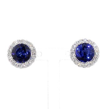 4.56 Blue Sapphire And Diamond Earrings