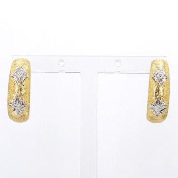 Estate 1/3 Carat Diamond J-Hoop Earring