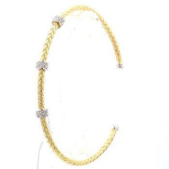 "Yellow Gold Mesh Jeweled Station Bracelet 6.75"" 3mm"