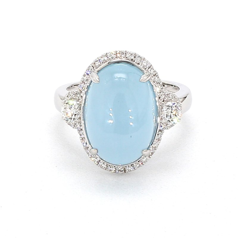 9.16 Carat Blue Aqua And Diamond Ring