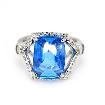 Modern Split Ring Blue Topaz Ring