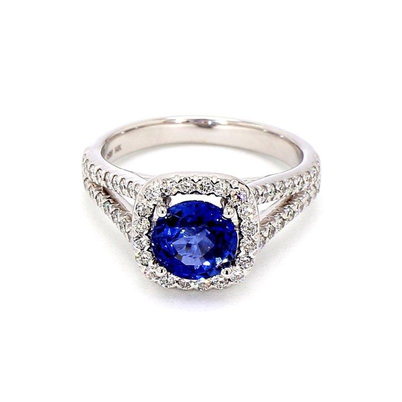 2 1/2ct Blue Sapphire & Diamond Ring