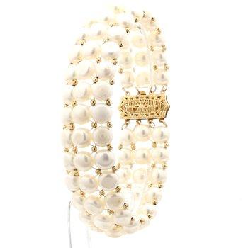 14KY Estate 3 Strand 20mm Wide 6.5mm Freshwater Pearl Bracelet