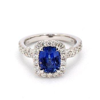2 1/2 Carat Cushion Cut Sapphire & Diamond Halo Ring