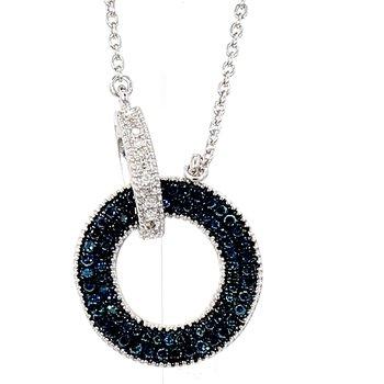 ".50CT Blue & White Diamond Circle Necklace 18"""