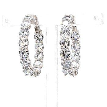 7 Ct Diamond Hoop Earrings 27x4.5mm 14 Karat White Gold