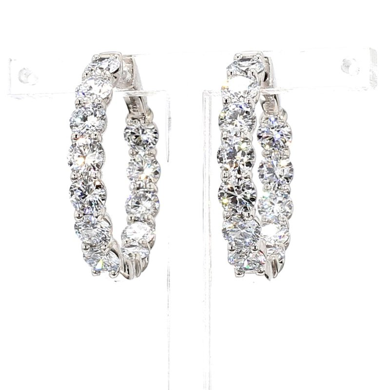 7 Ct Diamond Hoop Earrings 27x4.5mm 14 Karat White Gold