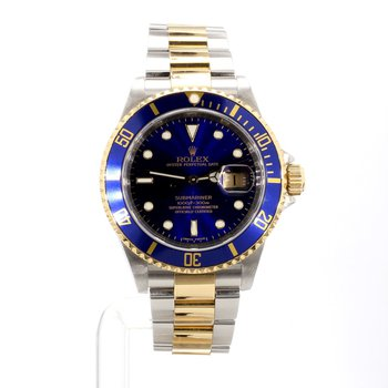 18K & Stainless Rolex Submariner Date Blue On Blue 16613 40MM