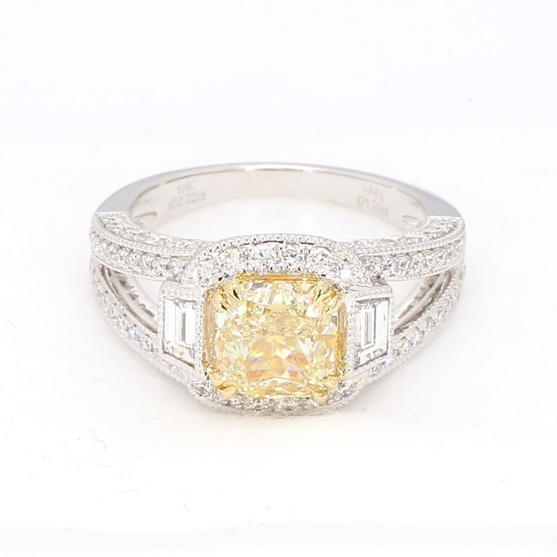 Yellow Diamond Halo Engagement Ring 3.08 Carats