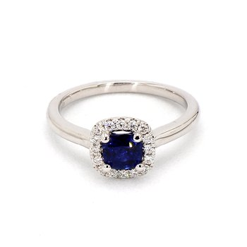 Simple Petite Cushion Cut Sapphire Ring