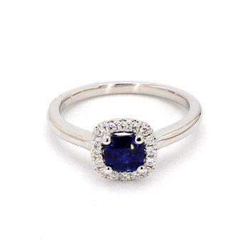 Simple Petite Cushion Cut Sapphire Ring