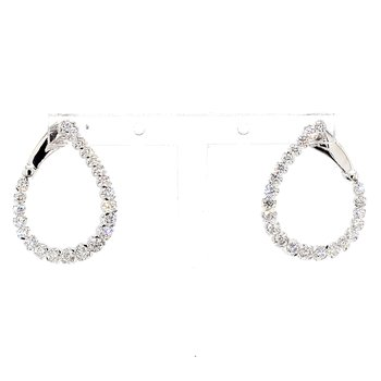 1ct Twisted Diamond Hoop Earrings