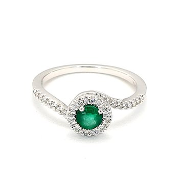.40 Carat Green Emerald And .16 Carat Diamond Halo Ring Crafted in 14 Karat White Gold