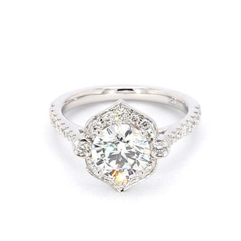 2.12 Carat Diamond Halo Engagement Ring