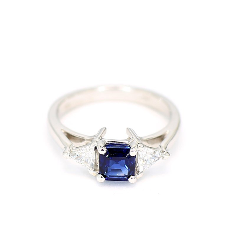 Blue Sapphire and Diamond 3 Stone Engagement Ring