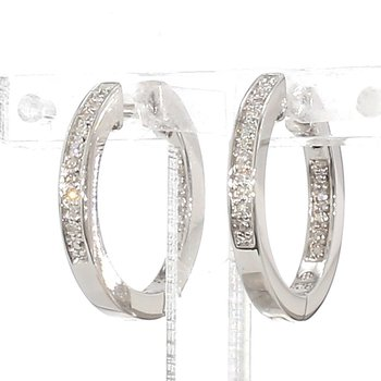 .07ct Small Huggie Diamond Hoop Earrings