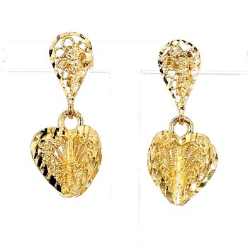 14KT Yellow Gold Filigree Heart Design Drop Earrings