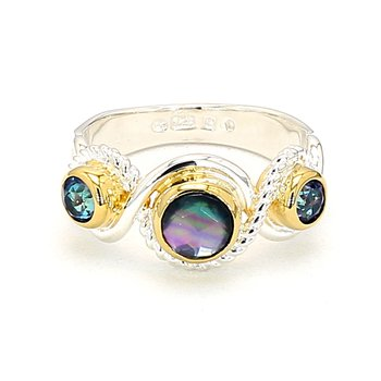 Sterling Silver & 22 Karat Yellow Gold Vermeil Multi Gemstone Ring