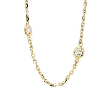 1 1/10ct Diamond Station 14 Karat Yellow Gold Necklace 18""