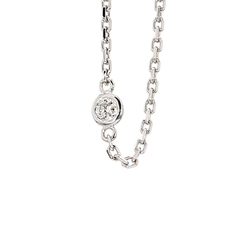 ".62ct Diamond Station 14 Karat White Gold Necklace 18"""