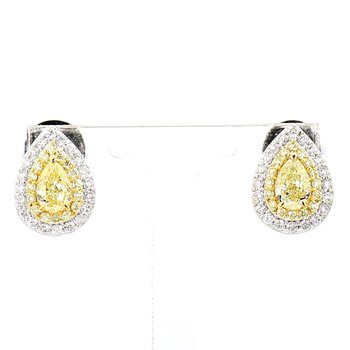 1.11ct Natural Yellow Diamond Halo Earrings