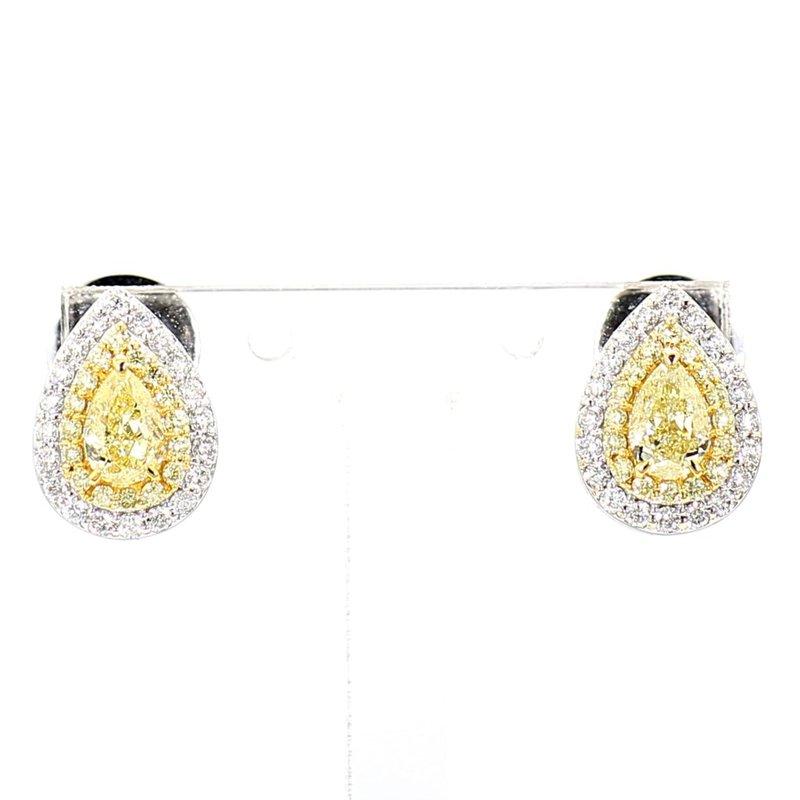 1.11ct Natural Yellow Diamond Halo Earrings