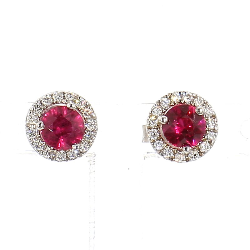 .70ct Ruby & Diamond Halo Earrings