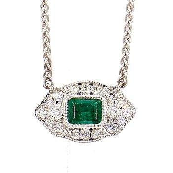 .25 Carat Emerald And .09 Carat Diamond Necklace 14 Karat White Gold