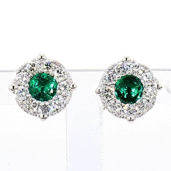 1.03ct Emerald & Diamond Halo Earrings