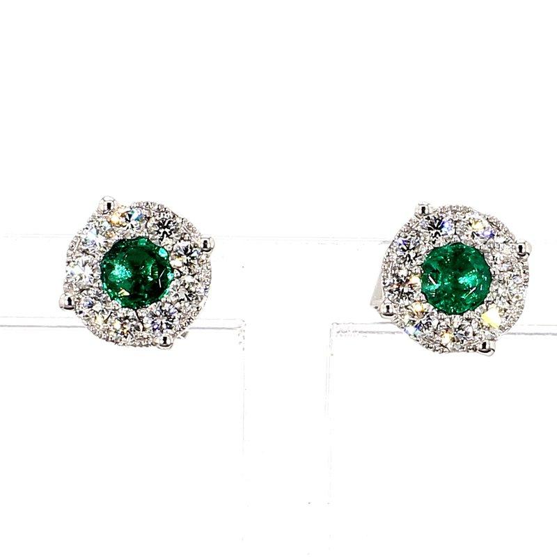 1.03ct Emerald & Diamond Halo Earrings