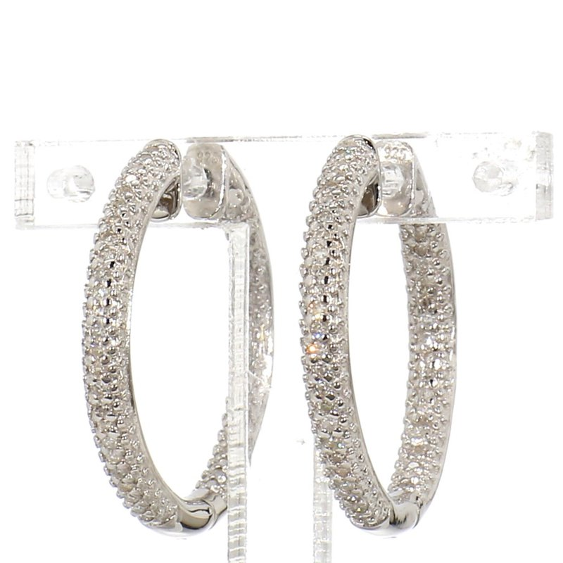 1/4ct. Pave Diamond Hoop Earrings