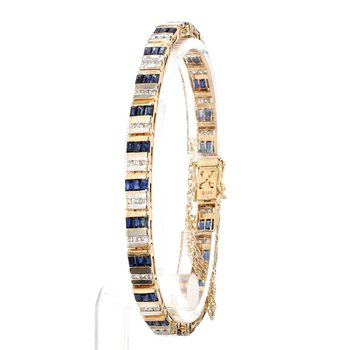 3 1/10ct Blue Sapphire & Diamond Estate Bracelet