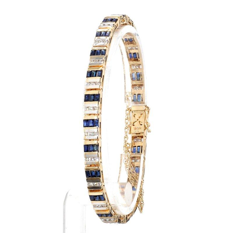 3 1/10ct Blue Sapphire & Diamond Estate Bracelet