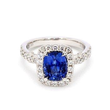 2/3ct Blue Sapphire & Diamond Halo Ring
