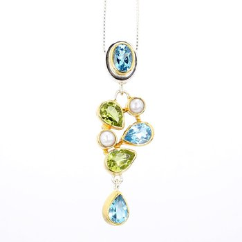 Silver And 22K Gold Drop Style Necklace