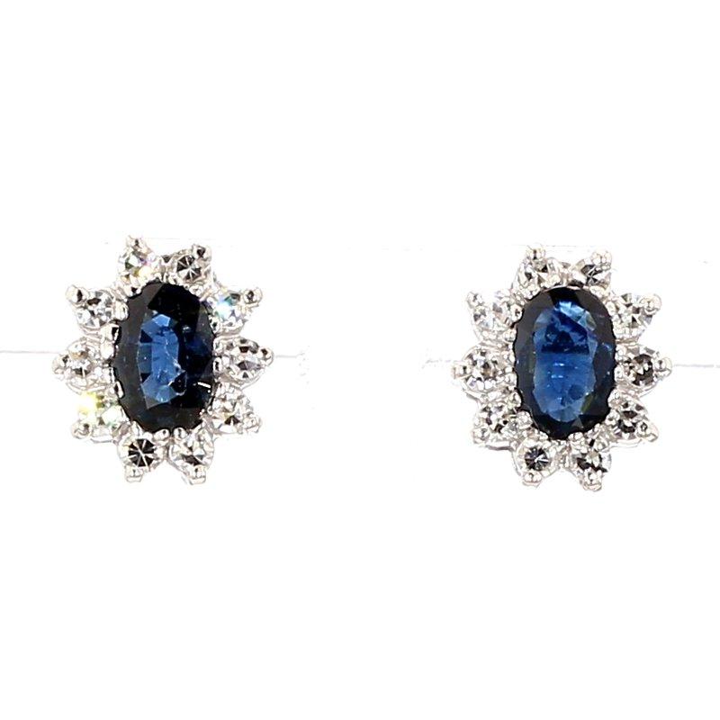 1 4/5ct Blue Sapphire & Diamond Halo Stud Earrings