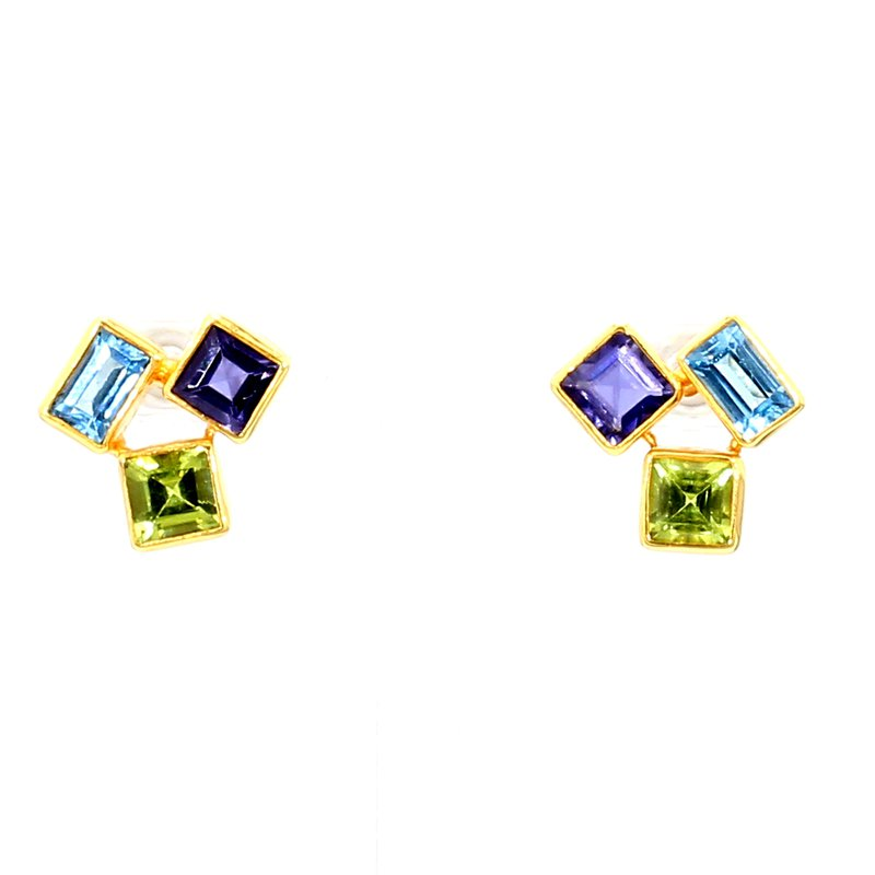 Sterling Silver & 22K Gold Vermeil Earring With Multiple Gemstones