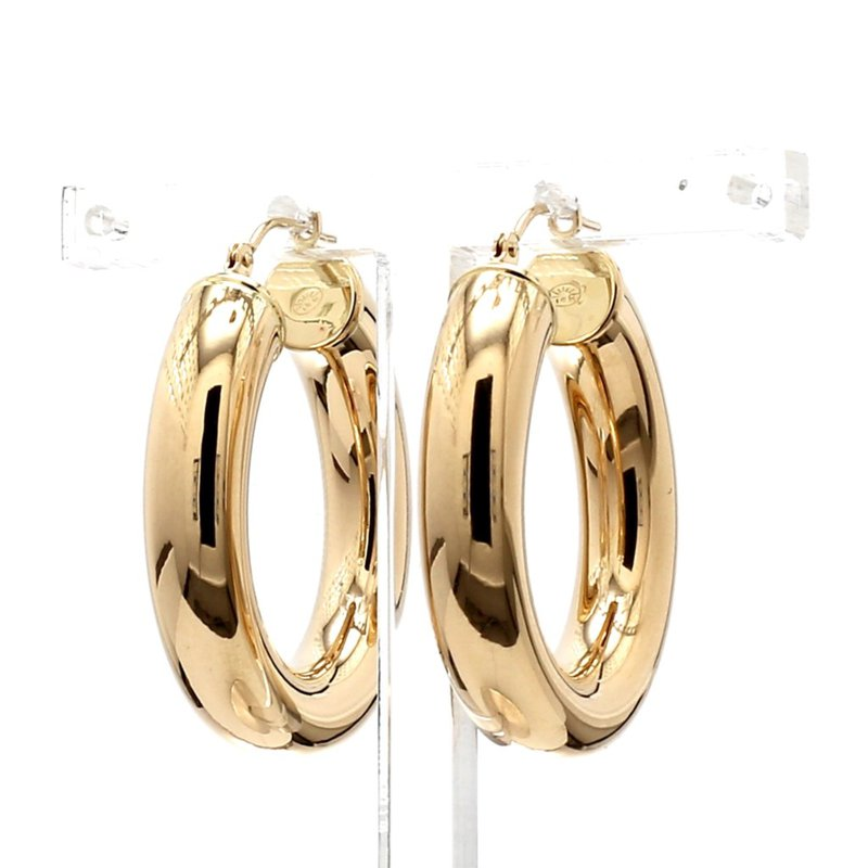 14KT Yellow Gold Round Hoop Earrings 30mm x 6mm