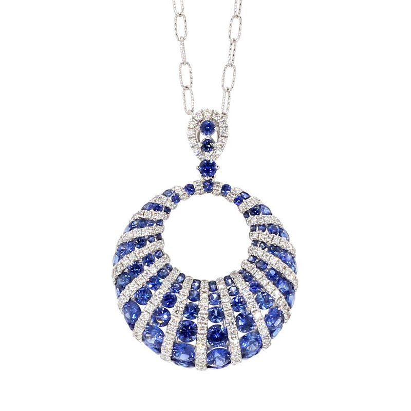 "18"" Sapphire & Diamond Spiral Necklace"