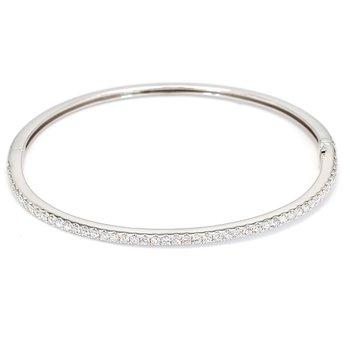 1.03 Carat Diamond Bangle 14 Karat White Gold Bracelet