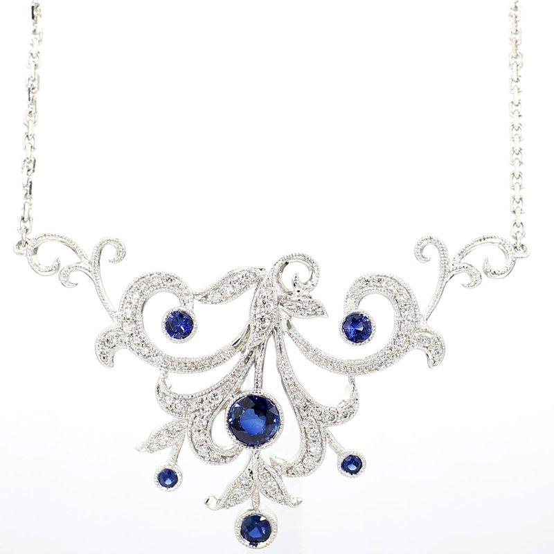 "1 1/10ct Sapphire & Diamond Vintage Recreated Necklace 18"""