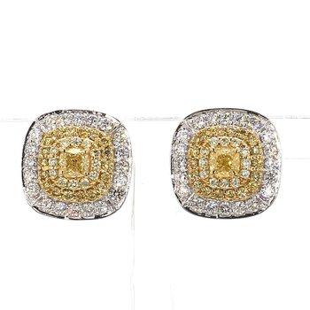 1 3/8ct Natural Yellow & White Diamond Halo Earrings
