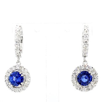 2.35ct Sapphire & Diamond Halo Drop Earrings