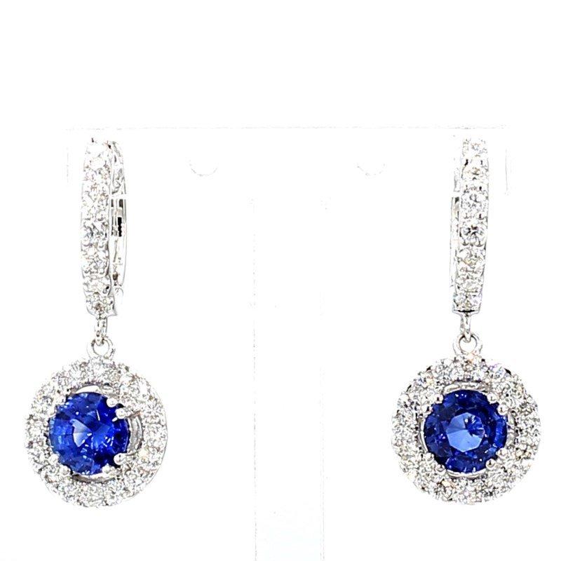 2.35ct Sapphire & Diamond Halo Drop Earrings