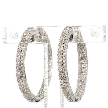 1/4ct. Pave Diamond Hoop Earrings