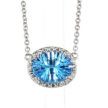2.08 Blue Topaz And Diamond Drop Pendant