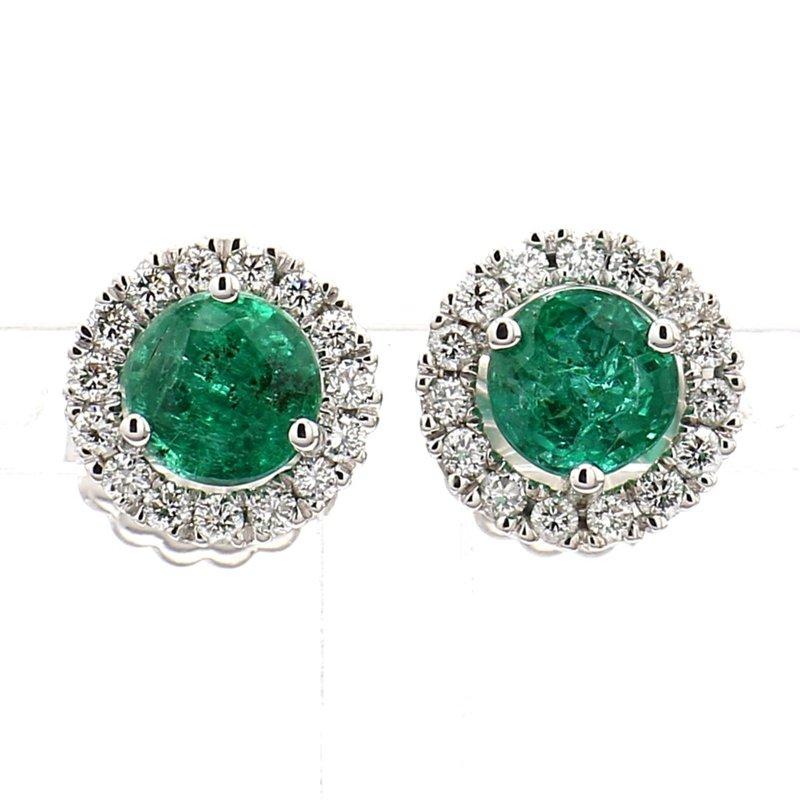 2.13ct Emerald and Diamond Halo Earrings