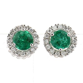 2.13ct Emerald and Diamond Halo Earrings