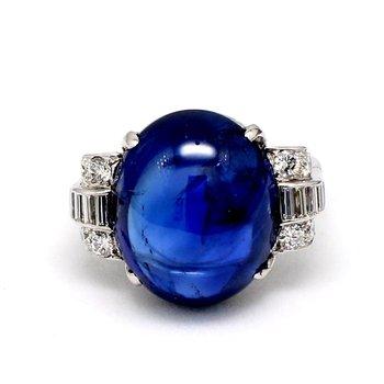 16 Carat Art Nouveau Sapphire & Diamond Ring
