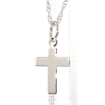 14K White Gold Petite Cross & Chain